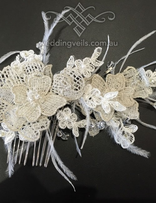 Brooke Vintage Lace Feathers
